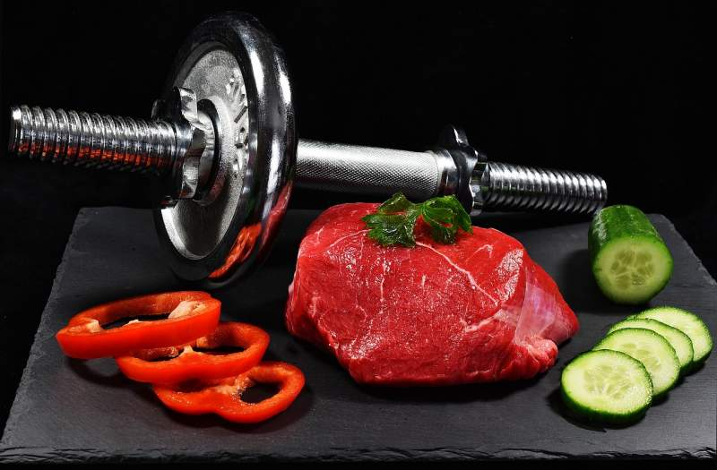 meat-dumbbell-cucumber-pepper-food