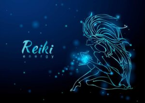 reiki energy. the girl with the flow of energy. meditation