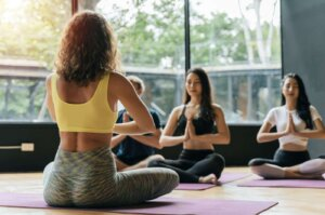 Group of athletic young diverse cultures sporty people practicing yoga