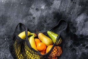 Friendly eco reusable bag of fruits. zero waste