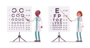 Male and female ophthalmology doctor