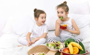 Healthy food, children eat fruits and vegetables