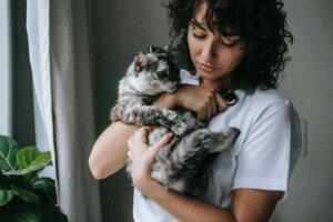 woman-with-adorable-gray-cat