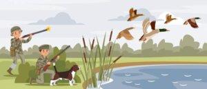 hunters shooting flying wild ducks near pond